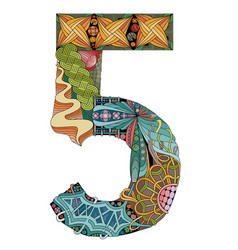 Number five zentangle decorative object vector