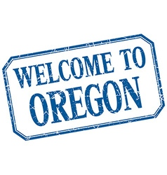 Oregon - welcome blue vintage isolated label vector