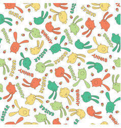 pattern with cute bunny or rabbit in white color vector image vector image