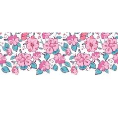 Pink blue kimono flowers horizontal border vector