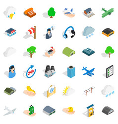 Plane terminal icons set isometric style vector