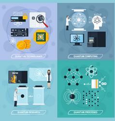 quantum processes 2x2 design concept vector image vector image