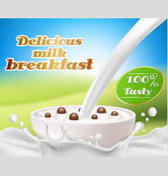 realistic poster with a milk splash and vector image