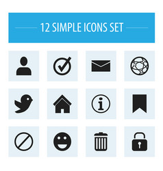 Set of 12 editable internet icons includes vector