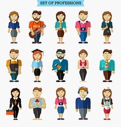 Set of 15 professions meteorologist hairdresser vector