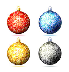 set of colored sparkling glitter christmas balls vector image vector image