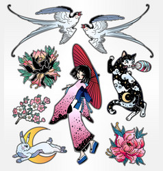 set of flash style japanese patches stickers vector image vector image