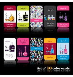 Set of ten color cards with bottles vector image vector image