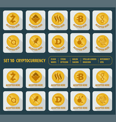 set of ten different cryptocurrency on a white vector image vector image