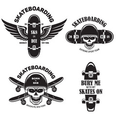 skateboarding labels badges set quotes about vector image vector image