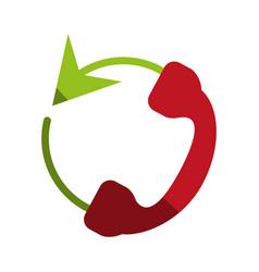 Telephone circule flat shadow vector