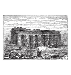 Temple of Hathor engraving vector image
