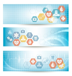 Three medical banners with icons vector image