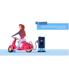 young girl sit electric scooter charging at vector image