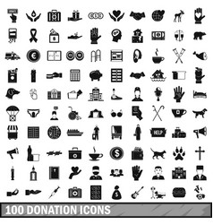 100 donation icons set simple style vector