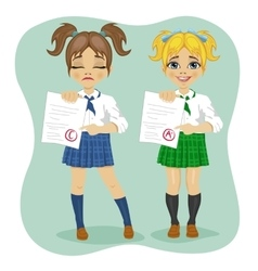 Young schoolgirls showing exam test results vector