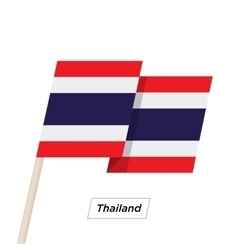 Thailand ribbon waving flag isolated on white vector