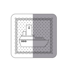 Sticker monochrome contour frame of vessel and vector