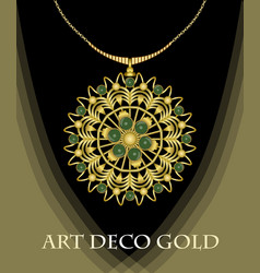 Luxurious art deco necklace with green gems vector