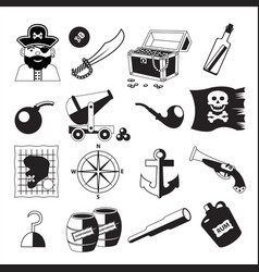 Set of pirate and sea elements in black and white vector
