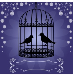 Birdcage-on-blue-floral-background vector