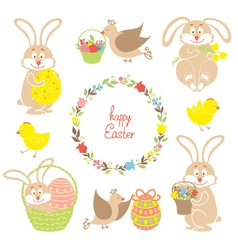 Set for easter easter bunnies flowers birds vector