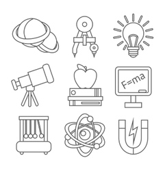 Physics science icons vector