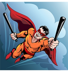 Hero with baseball bats vector