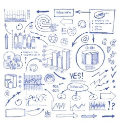 Doodle Blue Business Charts and Arrows on White vector image
