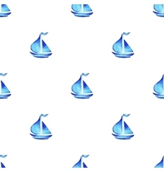 Watercolor sea ship pattern vector