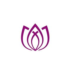 Lotus flower line abstract yoga logo vector
