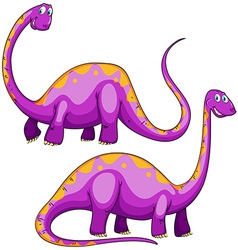Two purple dinosaurs smiling vector