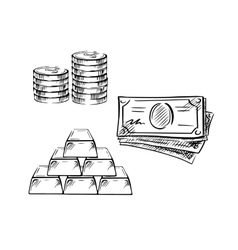 Sketch of dollar bills coins and gold bars vector image