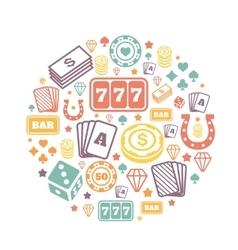 Gambling icons set casino and card poker game vector