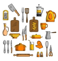 Kitchenware and kitchen utensil icons vector