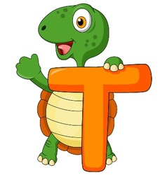Alphabet T with turtle cartoon vector image