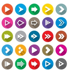 Arrow sign icon set Simple circle shape buttons vector image