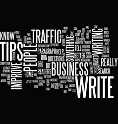 article tips to improve traffic text background vector image vector image