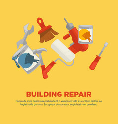 Building repair flat collection of equipments on vector