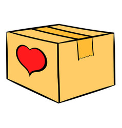 cardboard box with heart icon icon cartoon vector image