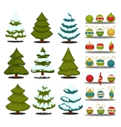 Christmas tree Set of green trees and decoration vector image