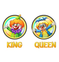 Clowns being king and queen vector