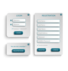 collection login and register web screen with vector image