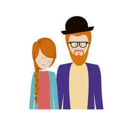 Color silhouette half body with couple redhead and vector