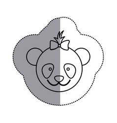 Contour face bear bow head icon vector