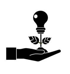 Contour hand with energy bulb plant with leaves vector