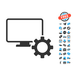 Desktop options gear icon with free bonus vector