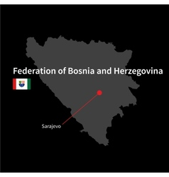 Detailed map of federation of bosnia and vector