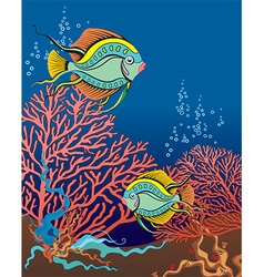 Fish swimming amongst coral vector
