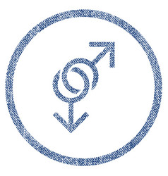 Gay love symbol rounded fabric textured icon vector
